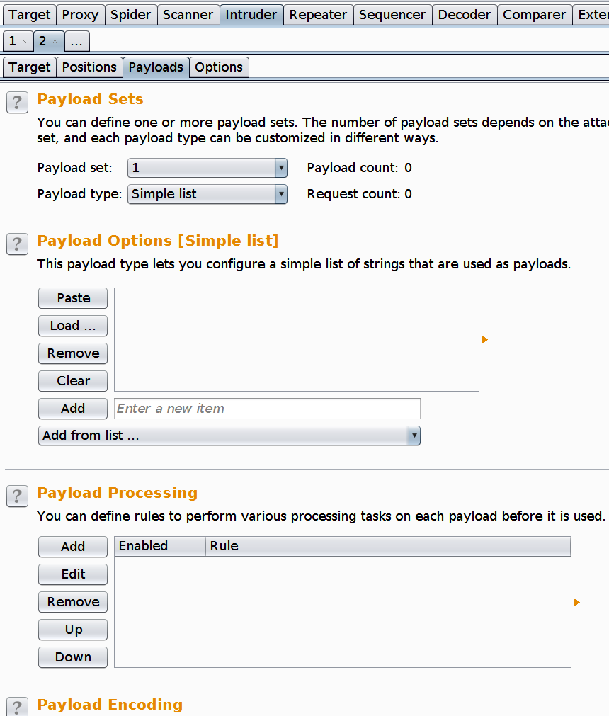 Burp suite intruder payload tab