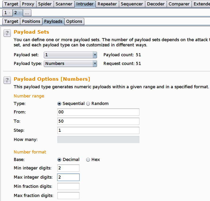 Burp suite intruder payload tab 2